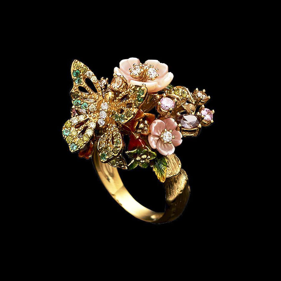 Gold Butterfly Bouquet Ring