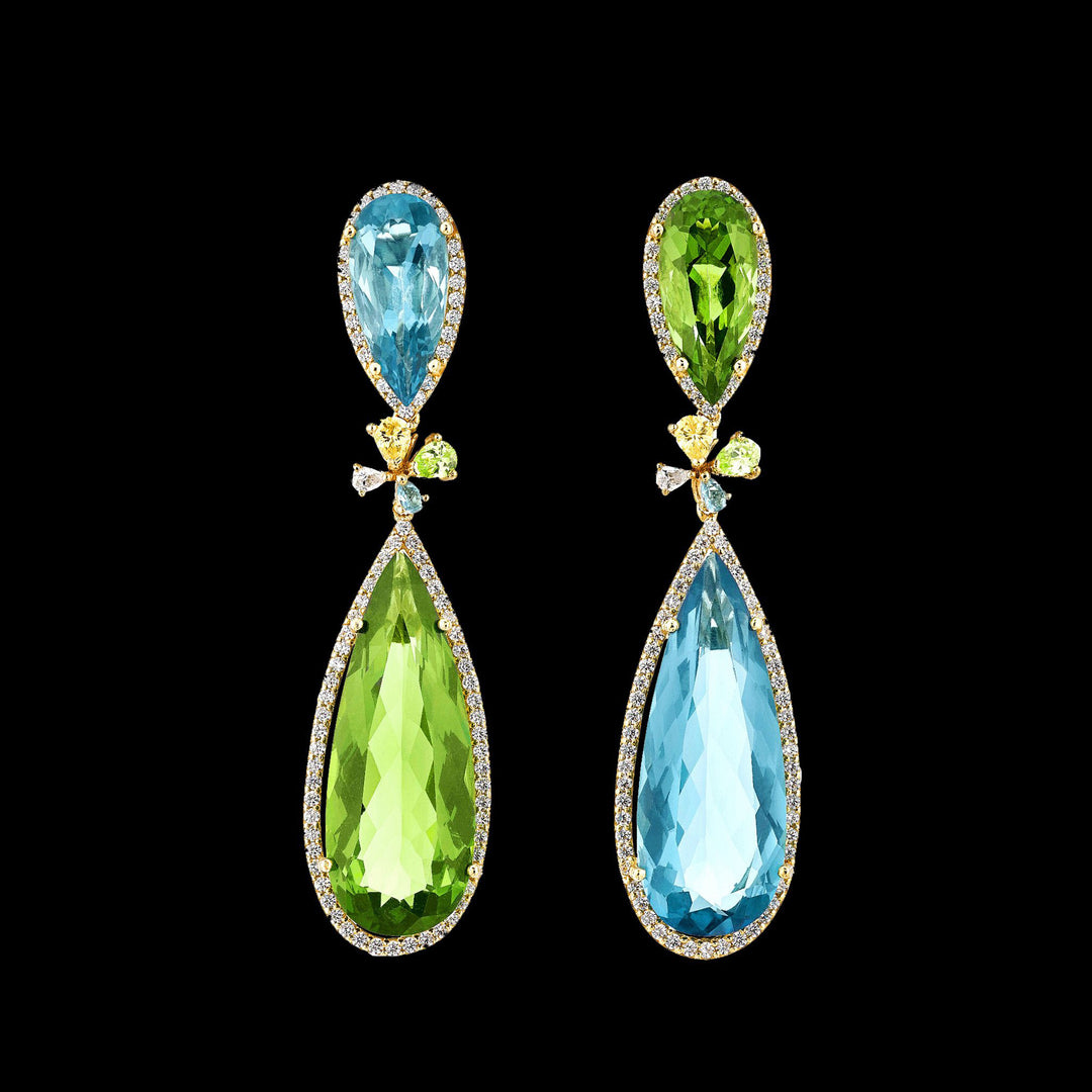 Aqua Tourmaline Papillon Earrings