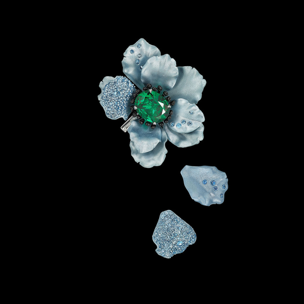 Emerald Poppy Brooch