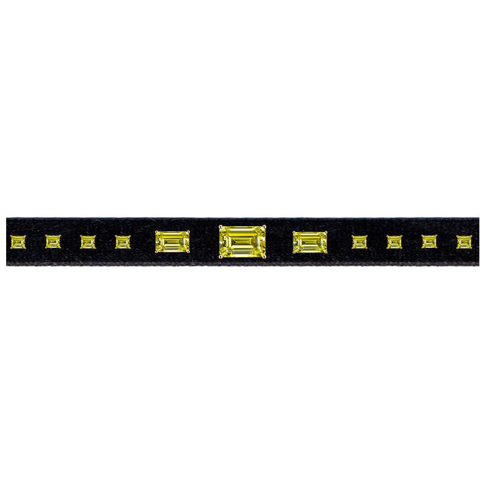 Canary Diamond Array Velvet Choker - Narrow