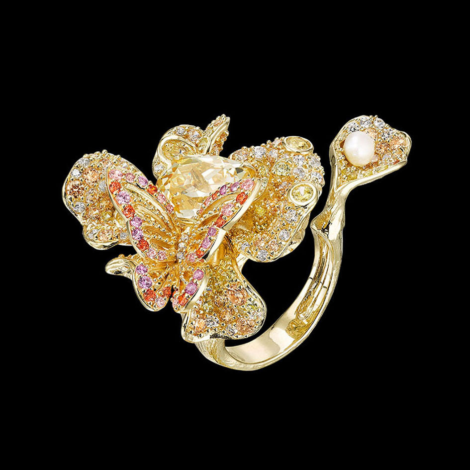 Canary Peony Butterfly Ring