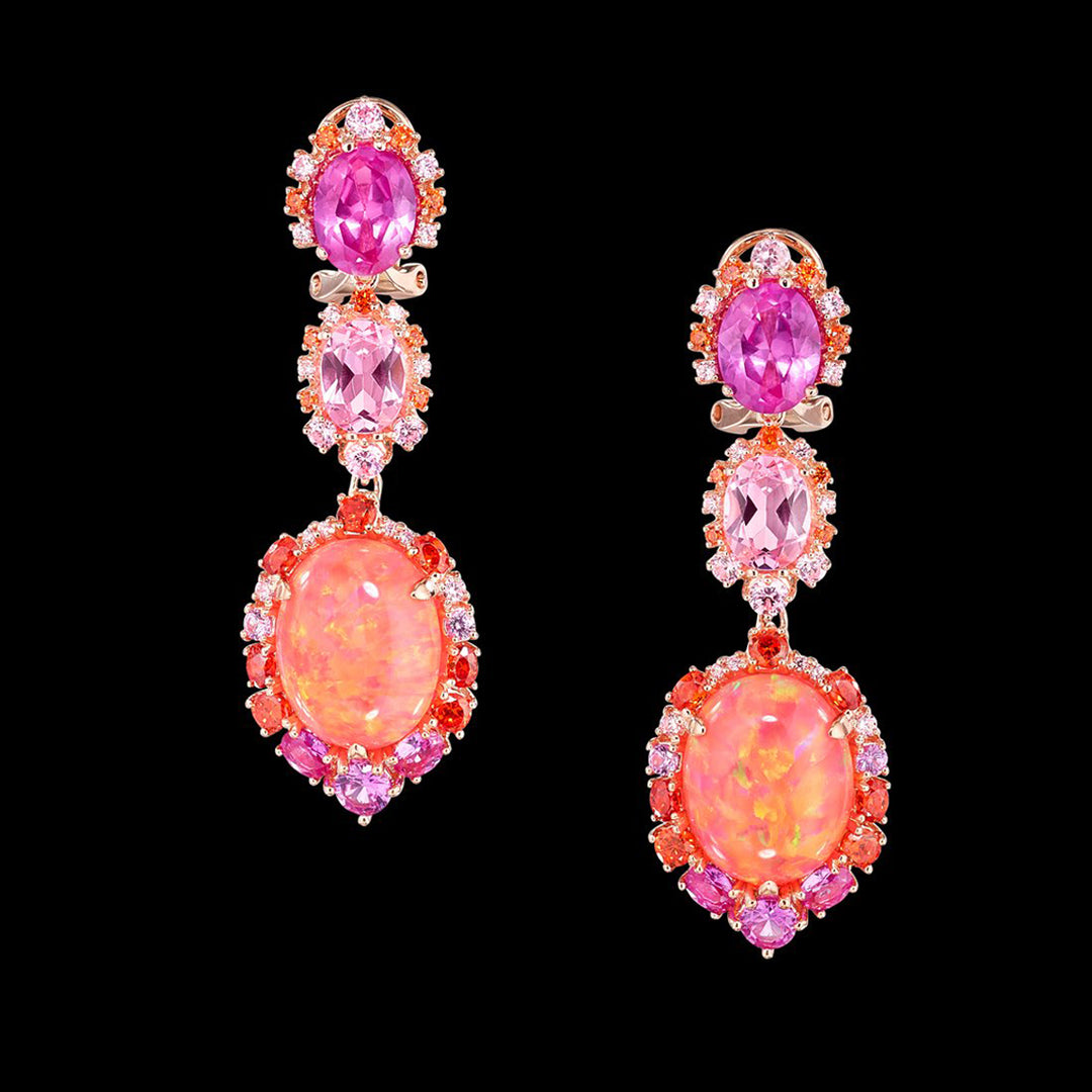 Coral Opal Ocean Drop Earrings