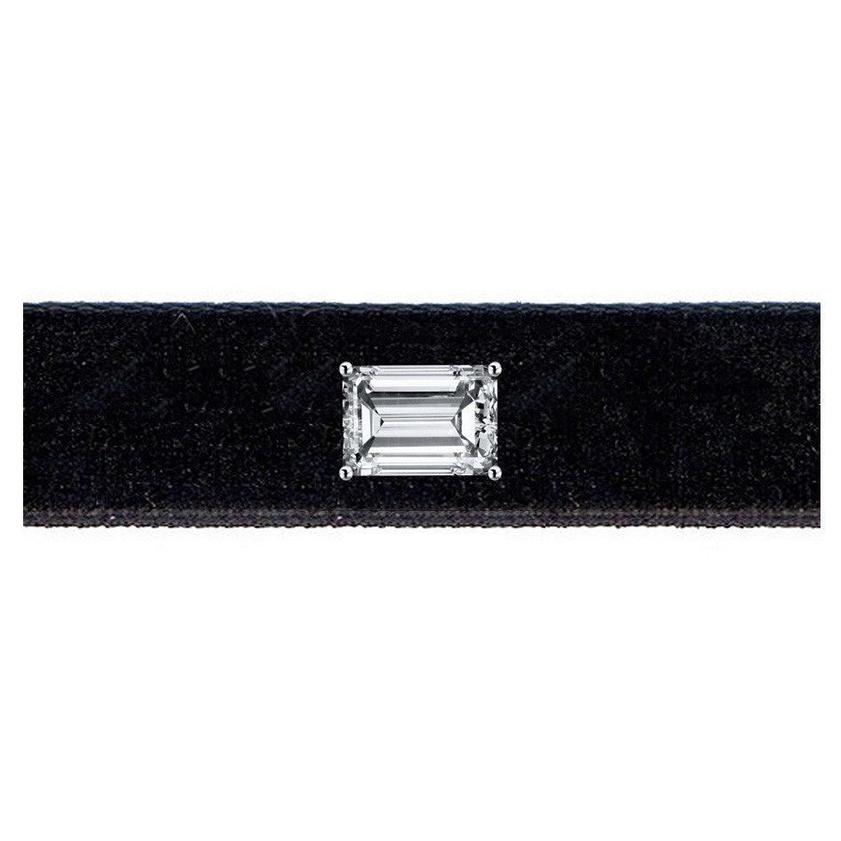 Diamond Velvet Narrow Choker