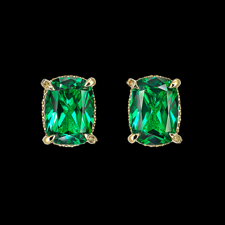 Emerald Cushion Wing Studs