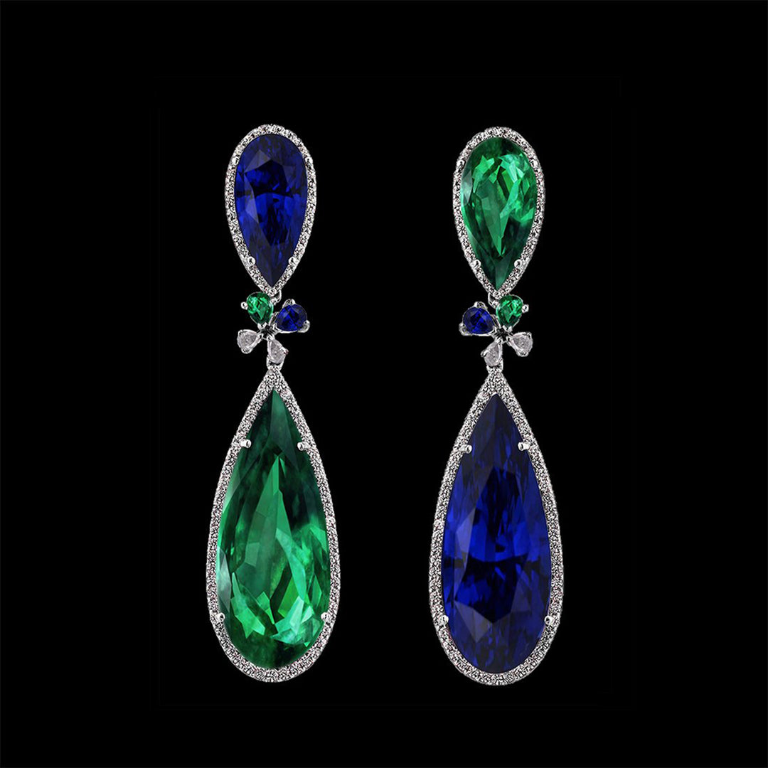 Emerald Sapphire Papillon Earrings