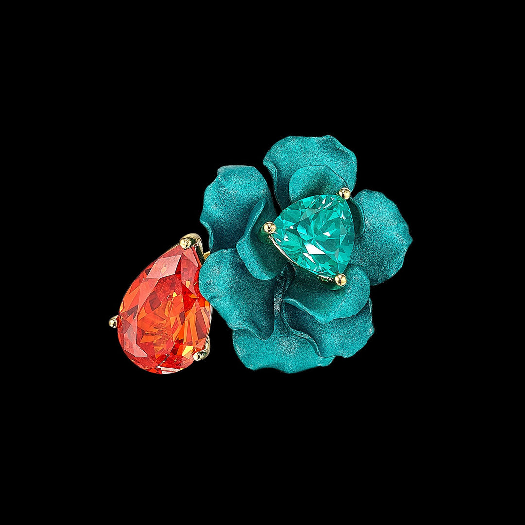 Mandarin Paraiba Bloom Ring