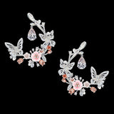 Rose Diamond Butterfly Garland Earrings