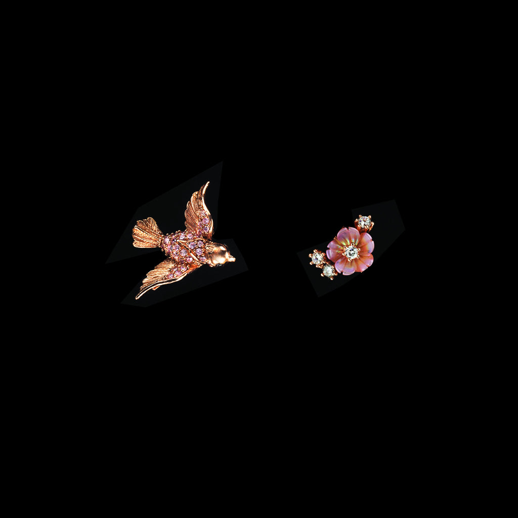 Rose Swallow Ear Stud
