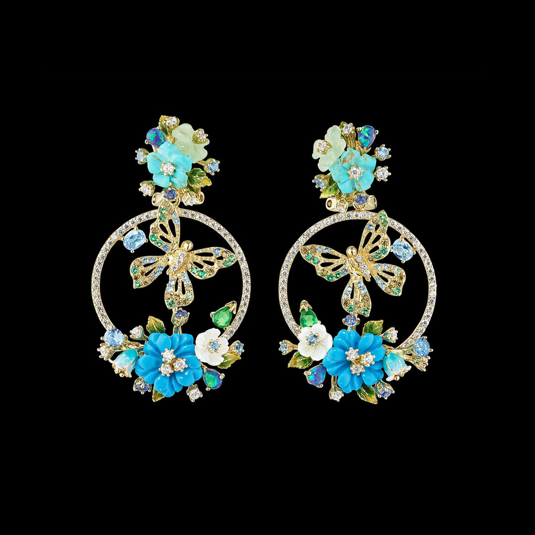 Turquoise Butterfly Wreath Earrings