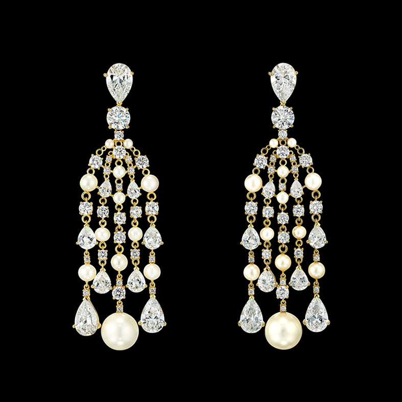 Diamond Pearl Raindrop Earrings