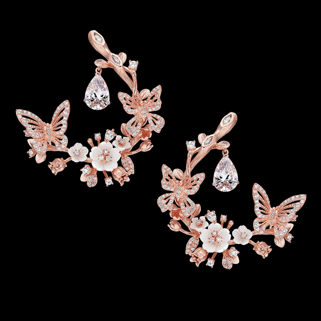 Diamond Butterfly Garland Earrings