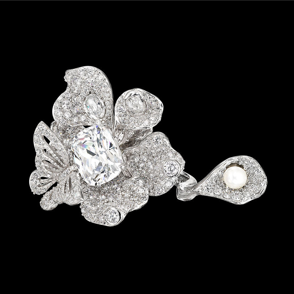 Diamond Peony Butterfly Ring