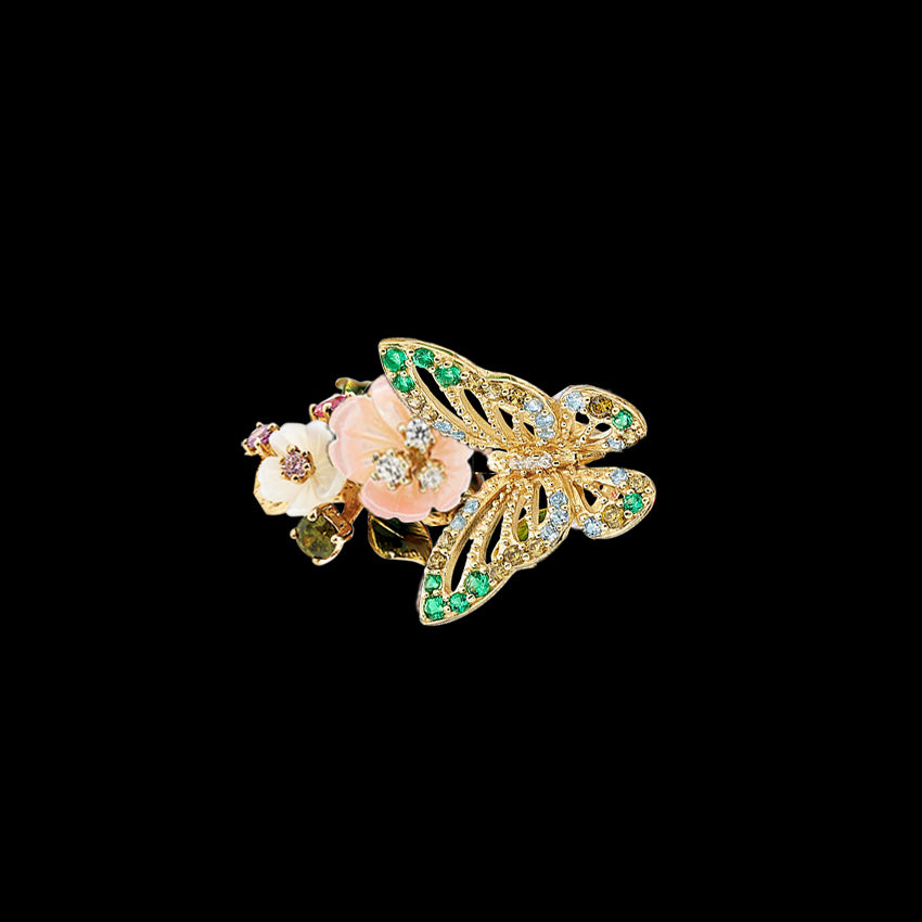 Mini Gold Butterfly Ring