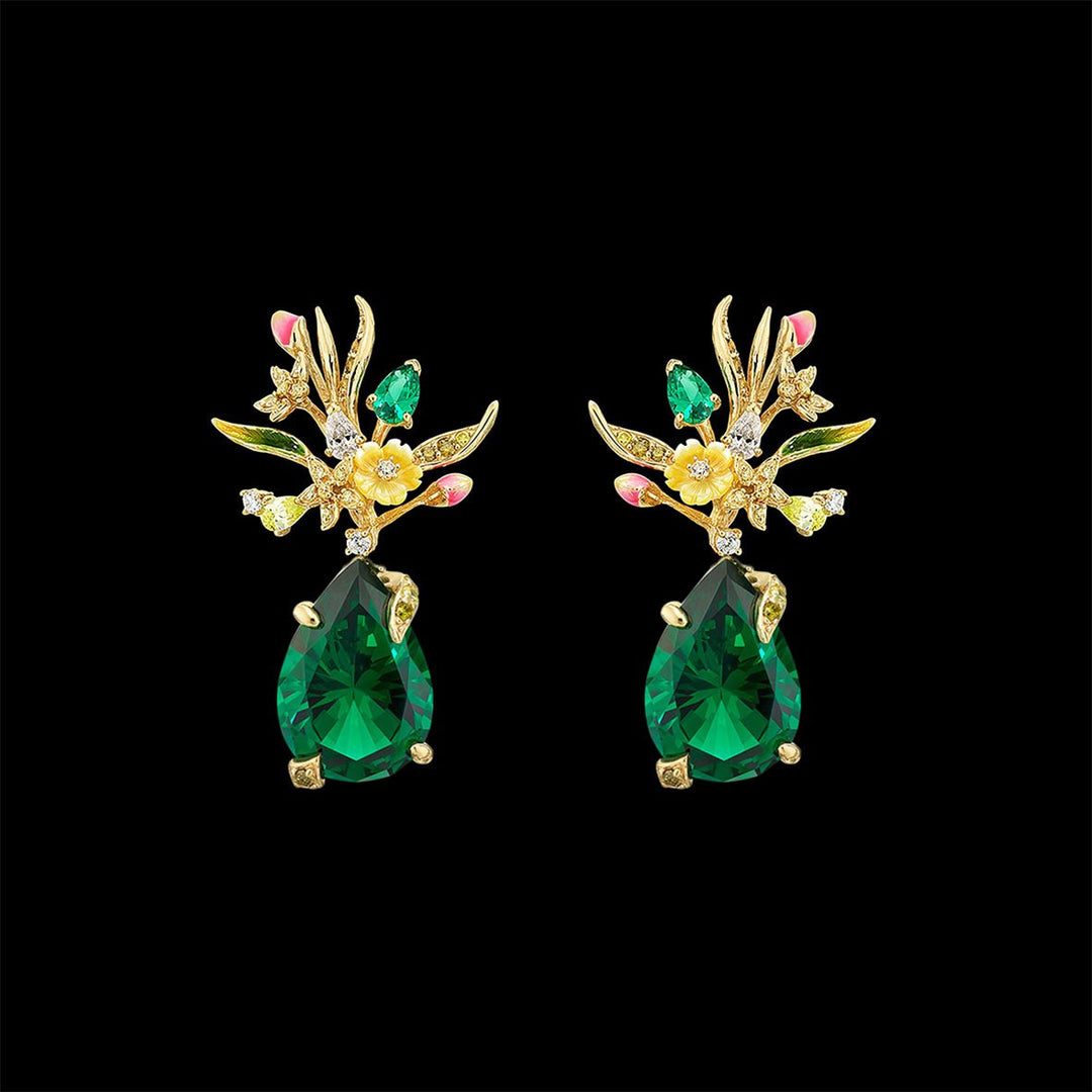 Mini Posie Emerald Earrings