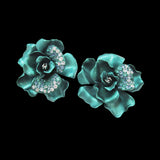 Aqua Camelia Earrings