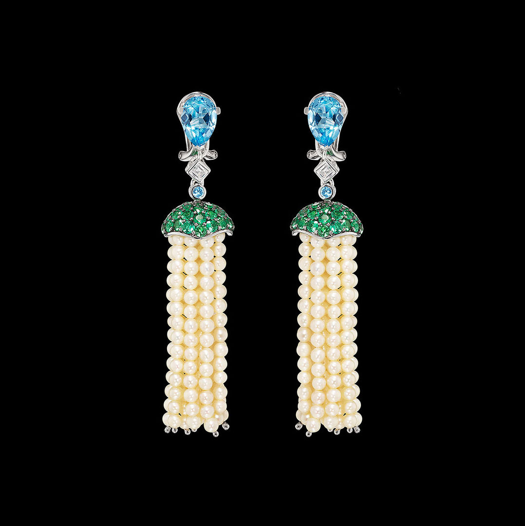 Aqua Pearl Tassel Earrings