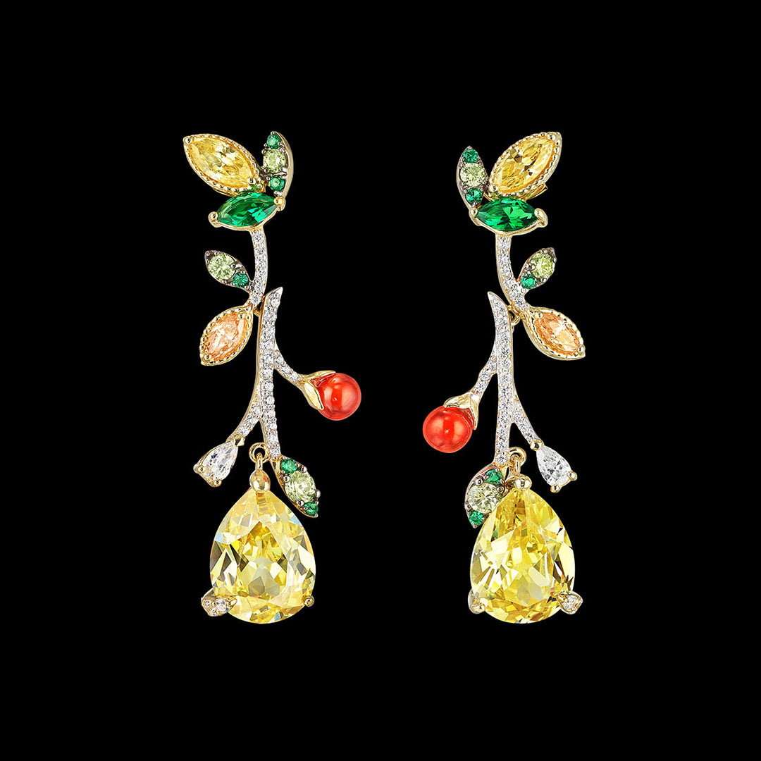 Canary Citrus Vine Earrings