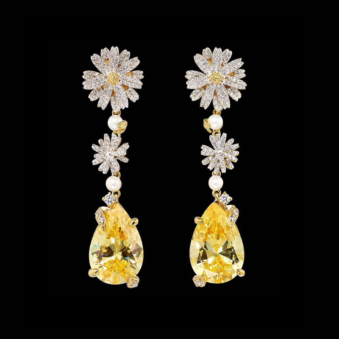 Canary Daisy Drop Earrings