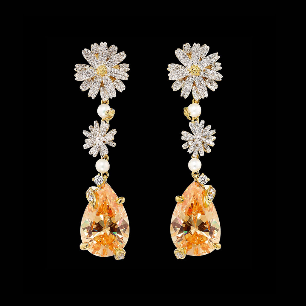 Citrine Daisy Drop Earrings