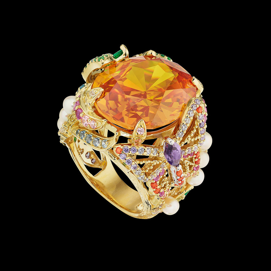 Citrine Swallowtail Ring