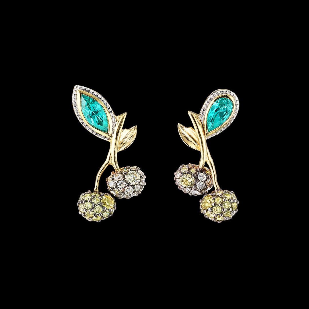 Paraiba Cherry Stud Earrings