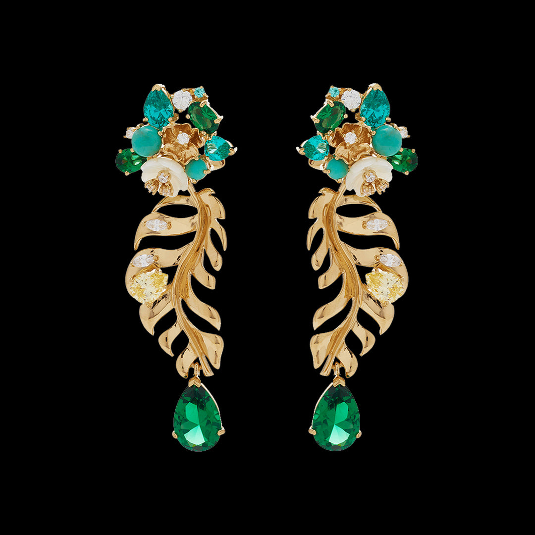 Emerald Palm Earrings