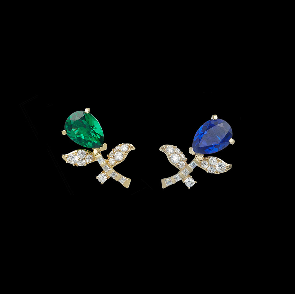 Emerald Sapphire Tulip Earrings