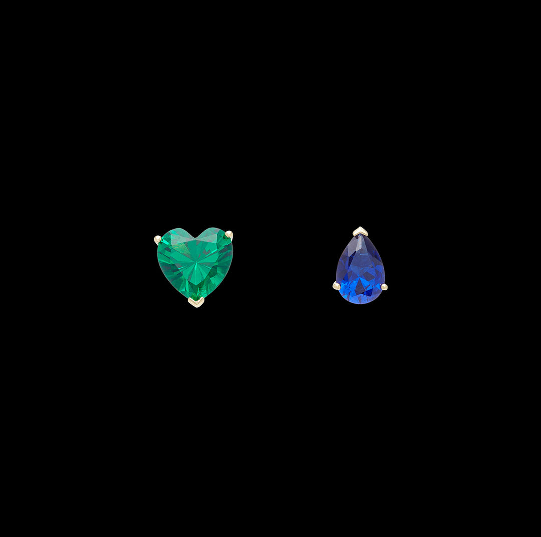 Emerald Love & Tears Stud Earrings