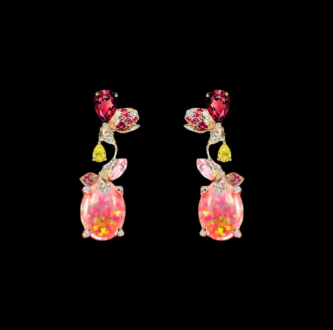 Pink Opal Carnivora Earrings