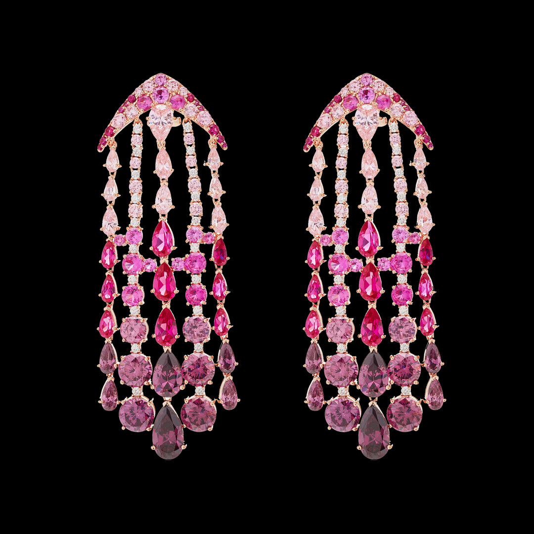 Fuchsia Ombré Waterfall Earrings