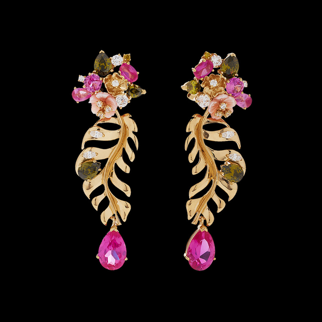 Fuchsia Palm Earrings