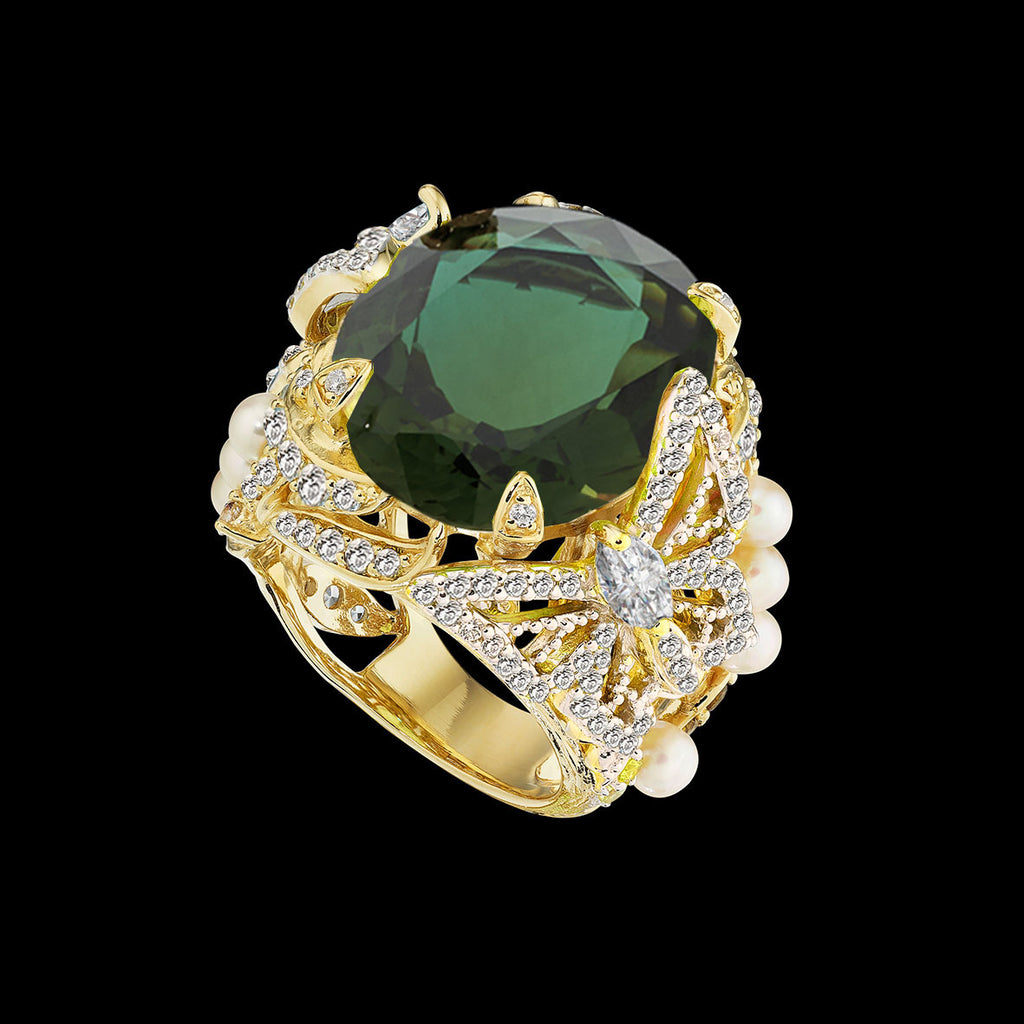 Green Tourmaline Swallowtail Ring