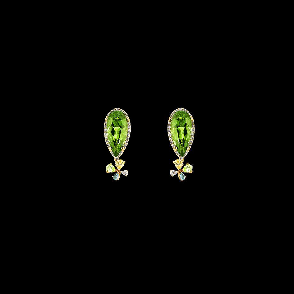 Mini Green Tourmaline Papillon Earrings