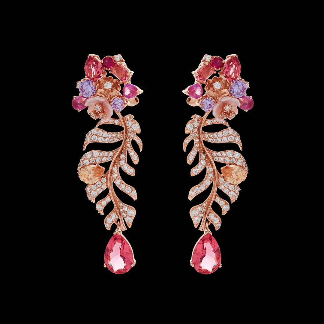 Padparadscha Palm Earrings