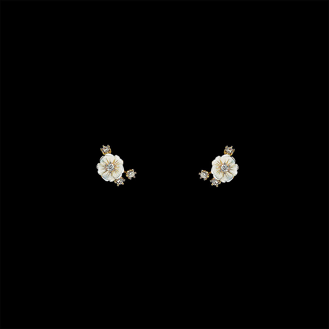 Petite Gold Floral Studs