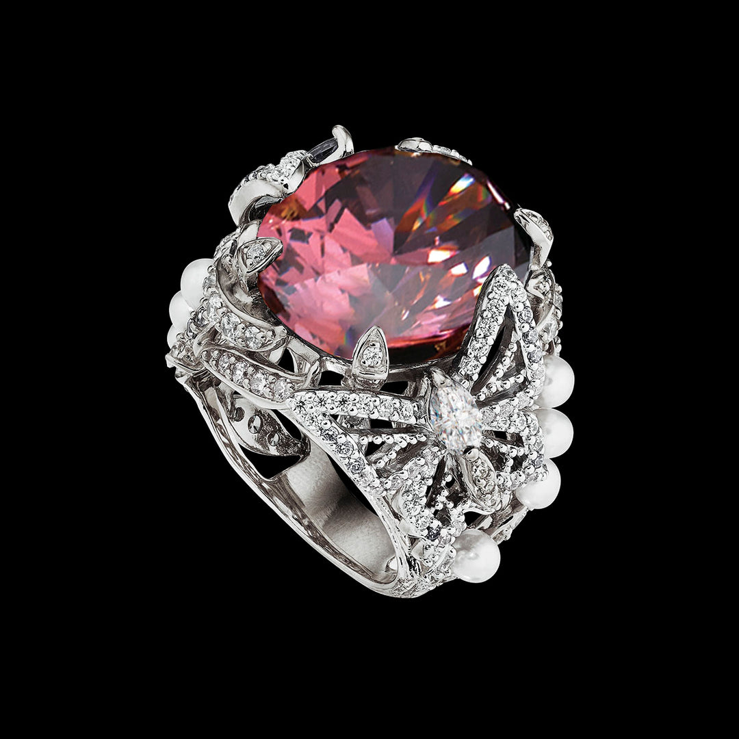Pink Tourmaline Swallowtail Ring