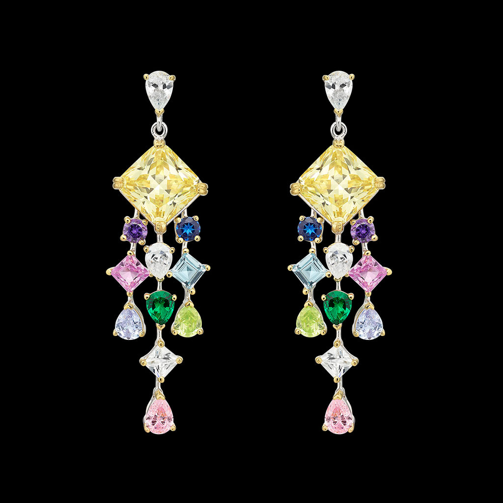 Rainbow Asscher Drop Earrings