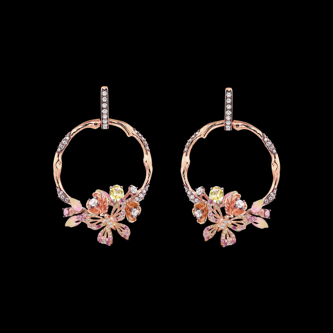 Rose Orchard Hoop Earrings