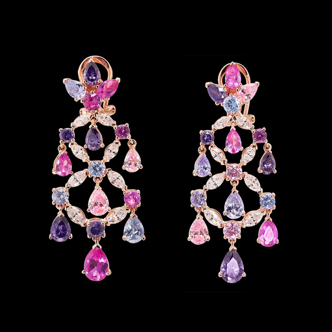Rose Amethyst Chandelier Earrings