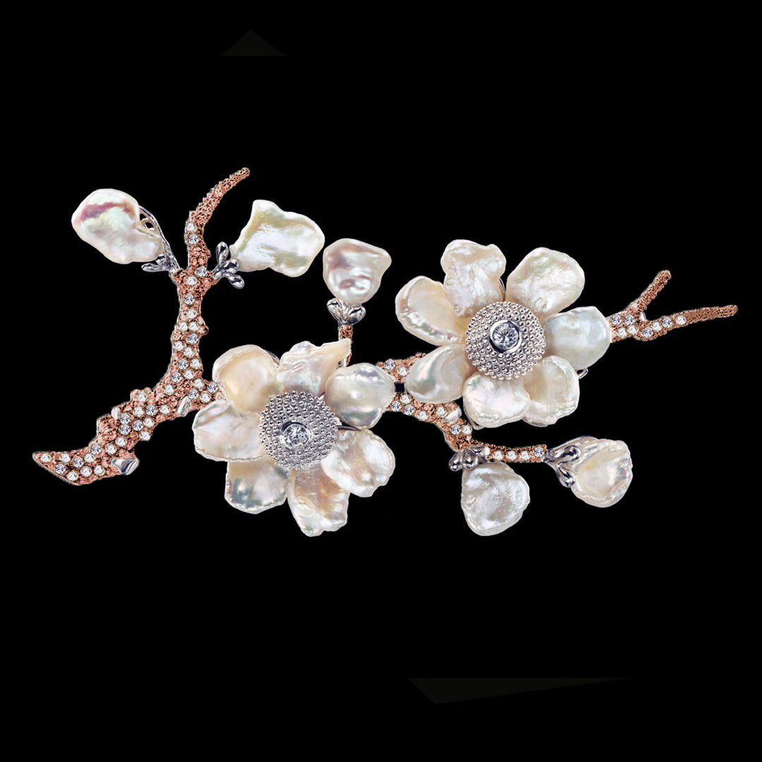 Rose Cherry Blossom Brooch