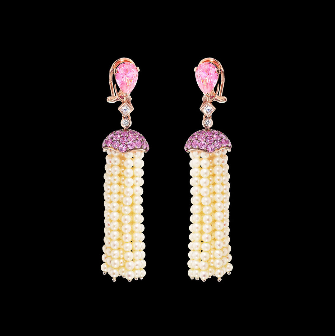 Rose Sapphire Pearl Tassel Earrings