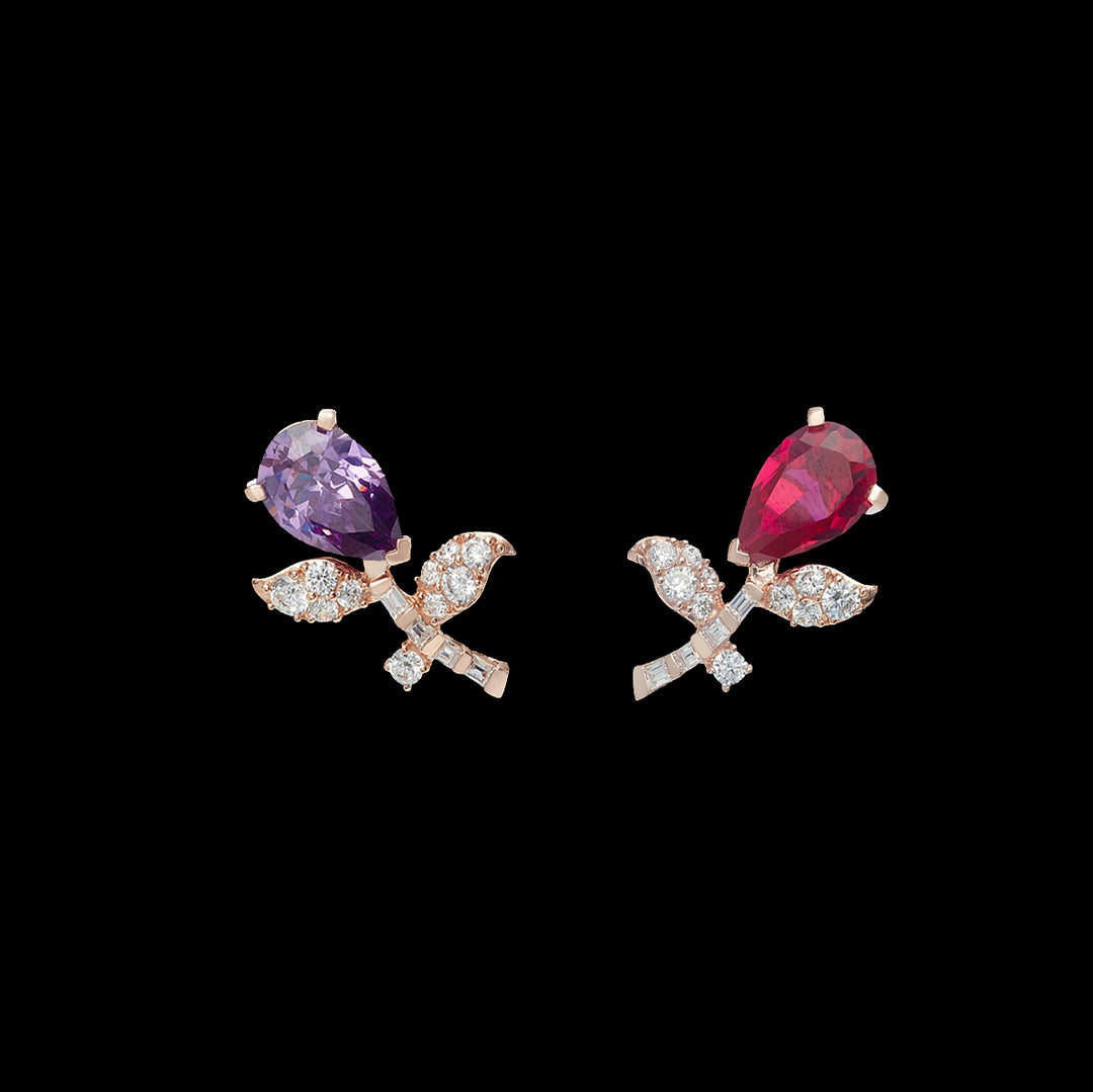 Ruby Amethyst Tulip Earrings