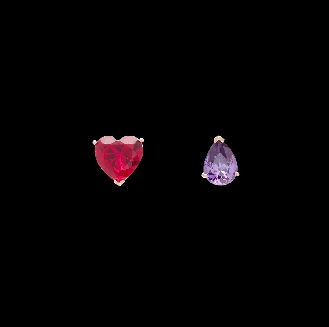 Ruby Love & Tears Stud Earrings