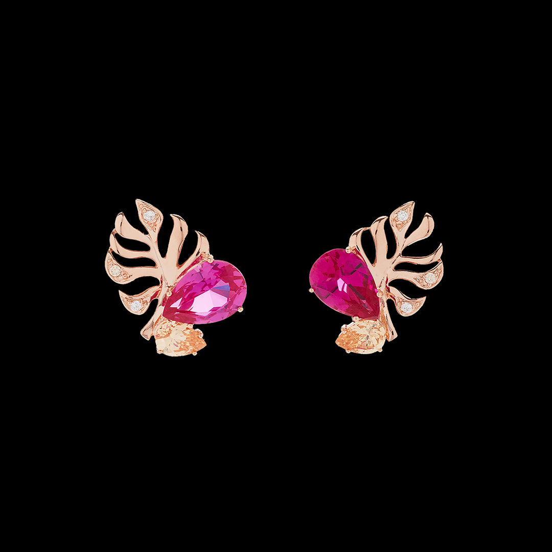 Fuchsia Palm Ear Studs