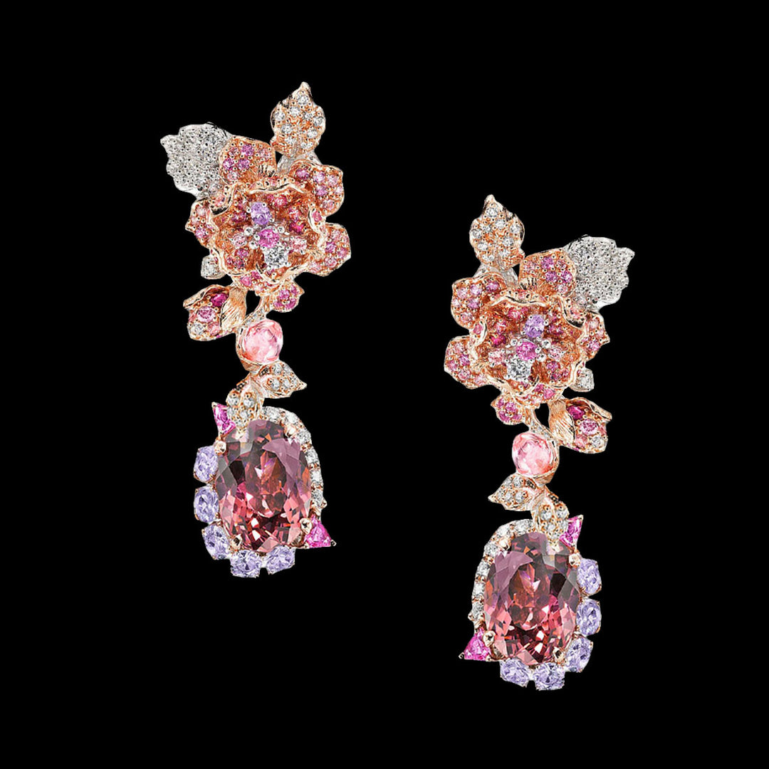 Tourmaline Rose Earrings