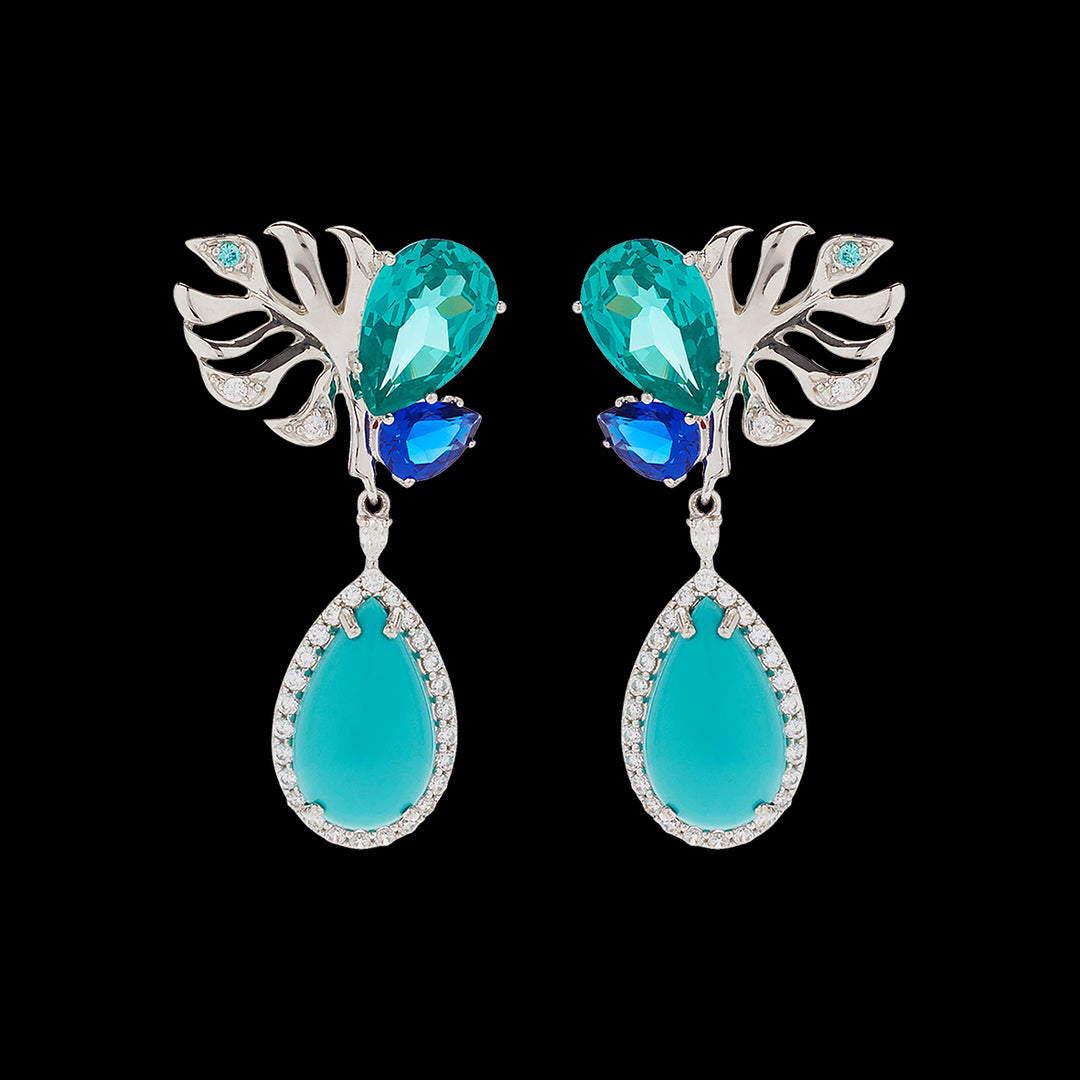 Turquoise Palm Paraiba Earrings