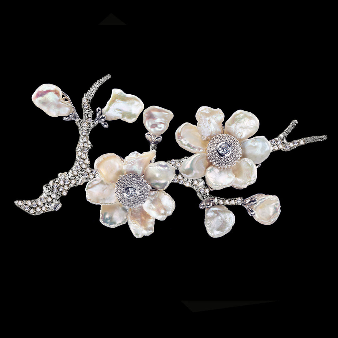 White Cherry Blossom Brooch