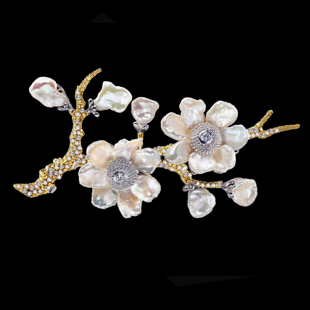 Gold Cherry Blossom Brooch