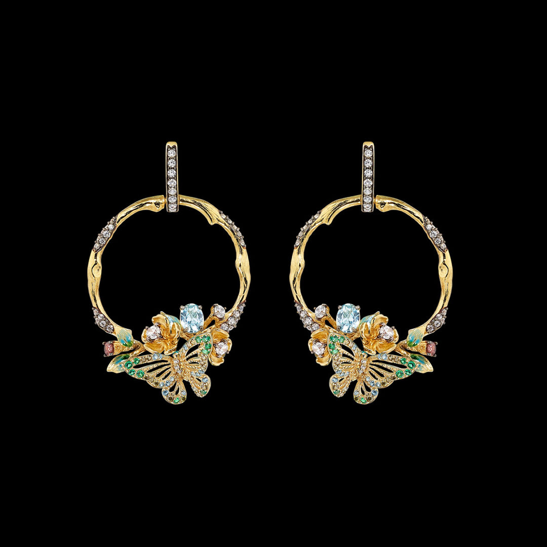 Aqua Orchard Hoop Earrings