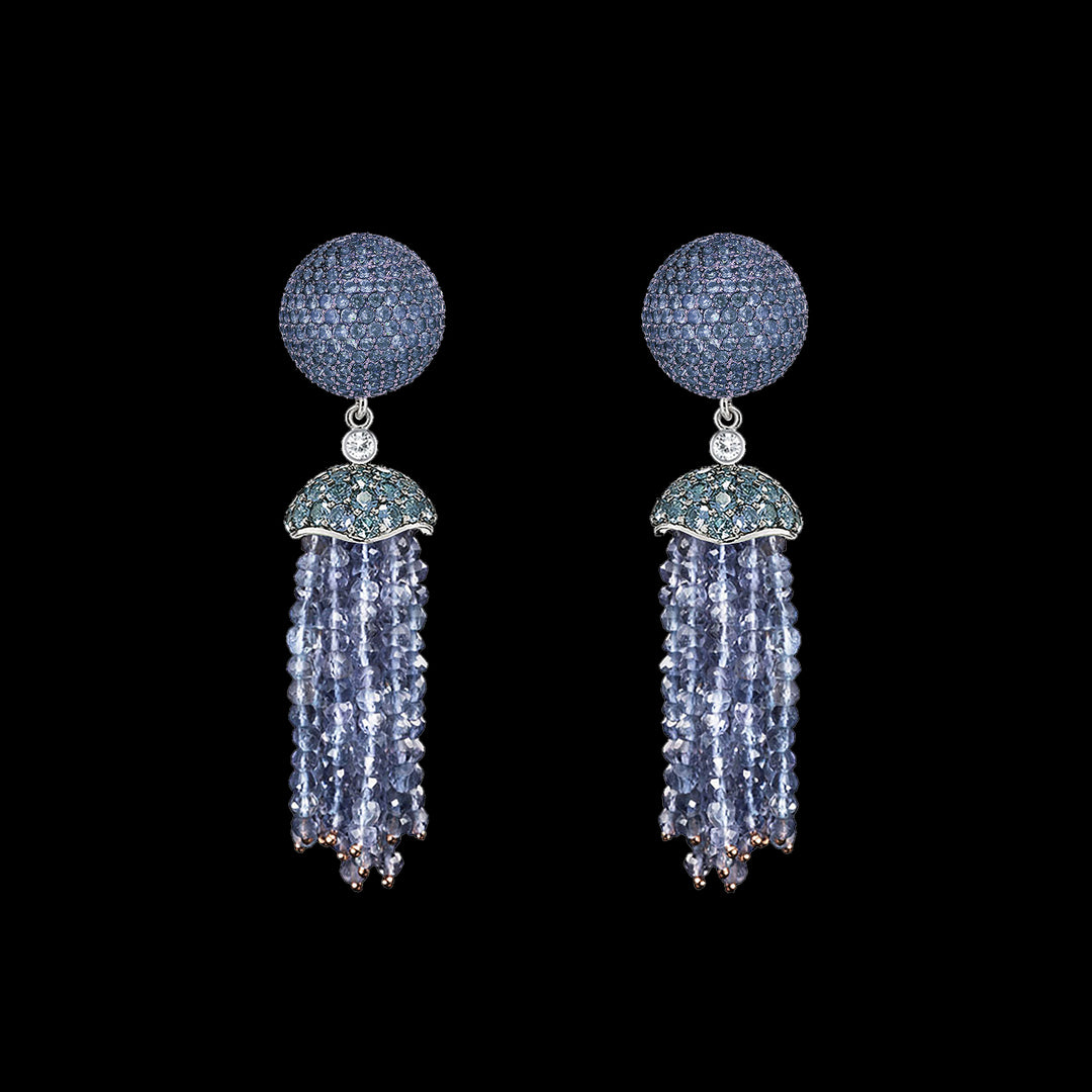 Blue Bauble Tassel Earrings